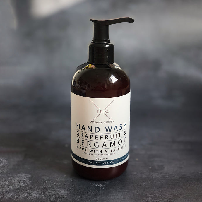Grapefruit & Bergamot Hand Wash Natural Pure Essential Clean Small Batch Independent Cornwall Cornish Gift Present Beauty Hand Care Wellness Clean Smell Fresh Vitamins Vegan