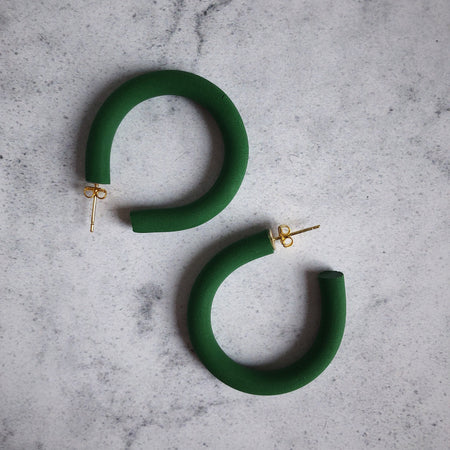 Olive Green Chunky Hoops Gift St Ives Cornwall Cornish Small Independent Quality For Her Design Original Stylish Modern