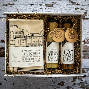 Pair Of Hemp Designs & A Set Of St Ives Tea Towels Hamper Present Gift Unique One Of A Kind For Him For Her Yum Tasty Stylish Independent