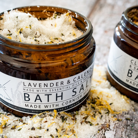 Lavender & Calendula Bath Salts with Real Flowers // Made in Cornwall - The St. Ives Co. Cornwall Cornish Souvenir Holiday beach Gift Hamper Quality Best Organic Oils Cosy Calming Relaxing Meditation Well Being Mindfulness Healthy Happy