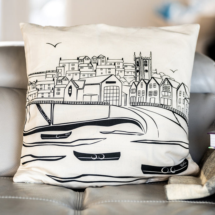 Lifeboat House St. Ives Cushion Cover - The St. Ives Co. Cornwall Cornish Souvenir Holiday beach Decor Illustrated View Town Best Quality