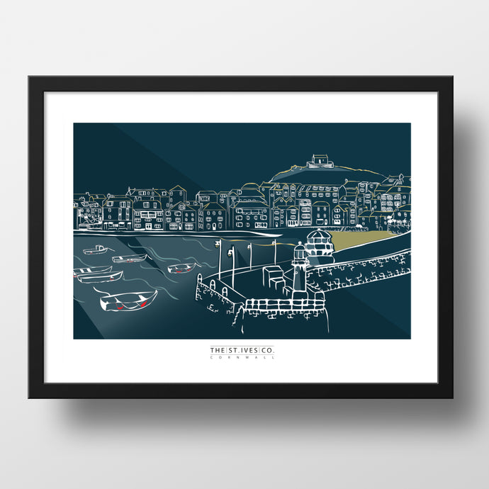 Harbour Wall Print - The St. Ives Co. Cornwall Cornish Souvenir Holiday beach