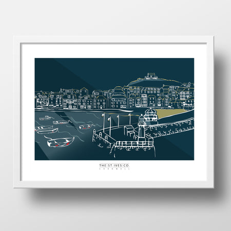 Harbour Wall Print - The St. Ives Co. Cornwall Cornish Souvenir Holiday Beach Beach Gift Illustration Art