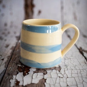 Cornish Stripe Mug - The St. Ives Co. Cornwall Cornish Souvenir Holiday beach Quality Tea Coffee Local Handmade Clay Unique Gift Set Homeware Classic