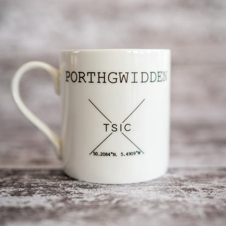 My Happy Place 'Porthgwidden' China Mug - The St. Ives Co. Cornwall Cornish Souvenir Holiday beach Gift Present Quality Best Tea Coffee Drink Mug Cup