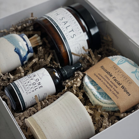 The St Ives Co Self Care Hamper Unique Candle bath Salt Cornish Face Wipes Match Stick Holder Body Oil Eco Soft Gift For Her For Him Best Idea
