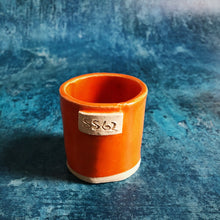 Load image into Gallery viewer, Orange Espresso Shot Beaker Cool Stylish Shot Coffee Unique St Ives Cornish Local Maker Clay Unique Quality