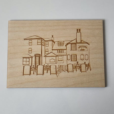 Collection of St. Ives engraved birchwood postcard - The St. Ives Co. Cornwall Cornish Souvenir Holiday Beach Gift Letter Art Illustration Post Memories