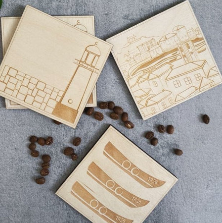 Original TSIC Lighthouse engraved wooden Coasters // Pack of 2 - The St. Ives Co. Cornwall Cornish Souvenir Holiday beach