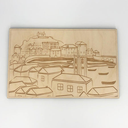TSIC Original St. Ives View Engraved Placemat - The St. Ives Co. Cornwall Cornish Souvenir Holiday beach Homeware Quality Design Amazing Best Eye Catching Town Local