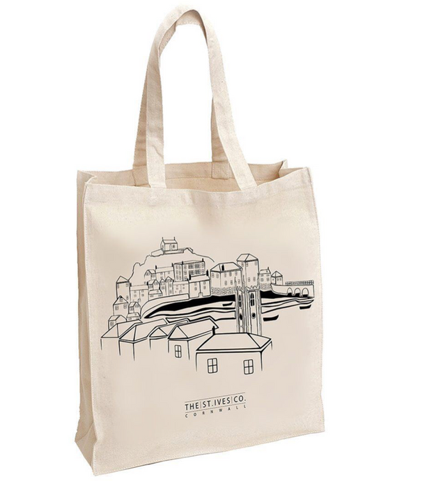 St. Ives Screen Printed Tote Bag - The St. Ives Co. Cornwall Cornish Souvenir Holiday beach
