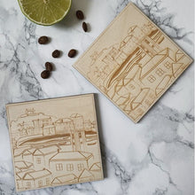 Load image into Gallery viewer, Original TSIC St. Ives View engraved wooden Coasters // Pack of 2 - The St. Ives Co. Cornwall Cornish Souvenir Holiday beach