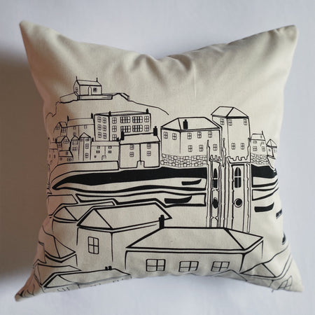 Original TSIC St. Ives View Cushion Cover - The St. Ives Co. Cornwall Cornish Souvenir Holiday beach Bedroom Living Room Stylish Design View Quality