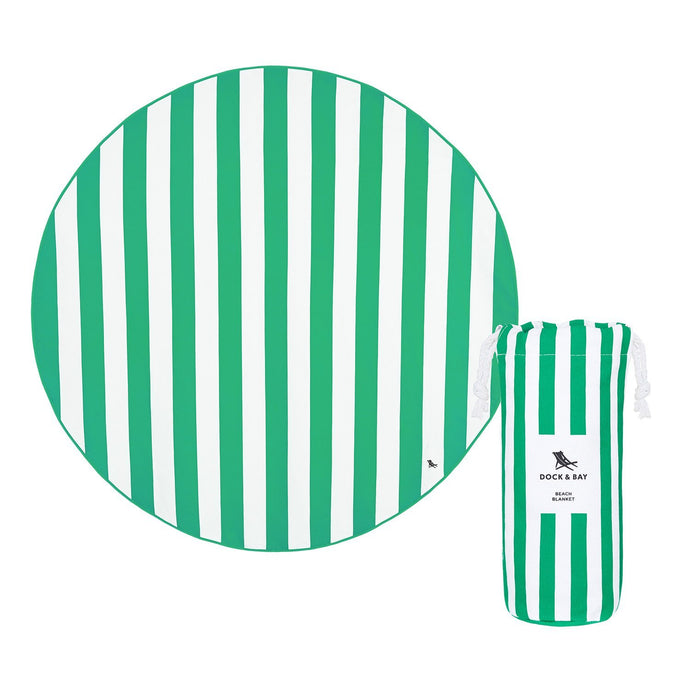 Round Green Dock & Bay Quick Dry Beach Blanket - The St. Ives Co. Cornwall Cornish Souvenir Holiday beach