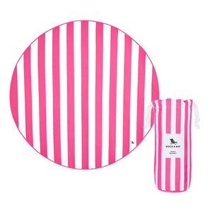 Round Pink Dock & Bay Quick Dry Beach Blanket - The St. Ives Co. Cornwall Cornish Souvenir Holiday beach