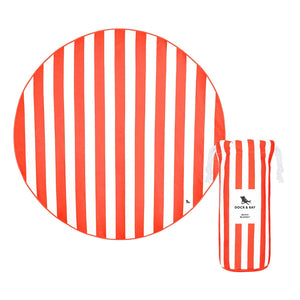 Round Coral Dock & Bay Quick Dry Beach Blanket - The St. Ives Co. Cornwall Cornish Souvenir Holiday beach