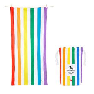 Rainbow Dock & Bay Quick Dry Towel - The St. Ives Co. Cornwall Cornish Souvenir Holiday beach