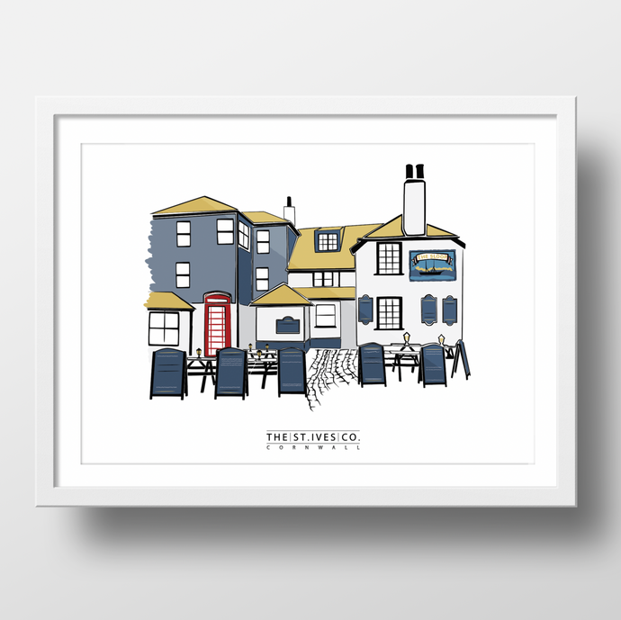 The Sloop St. Ives Print - The St. Ives Co. Cornwall Cornish Souvenir Holiday beach