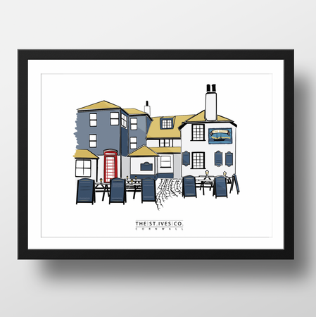 The Sloop St. Ives Print - The St. Ives Co. Cornwall Cornish Souvenir Holiday beach Original Unique Local Perfect Pub Man Cave