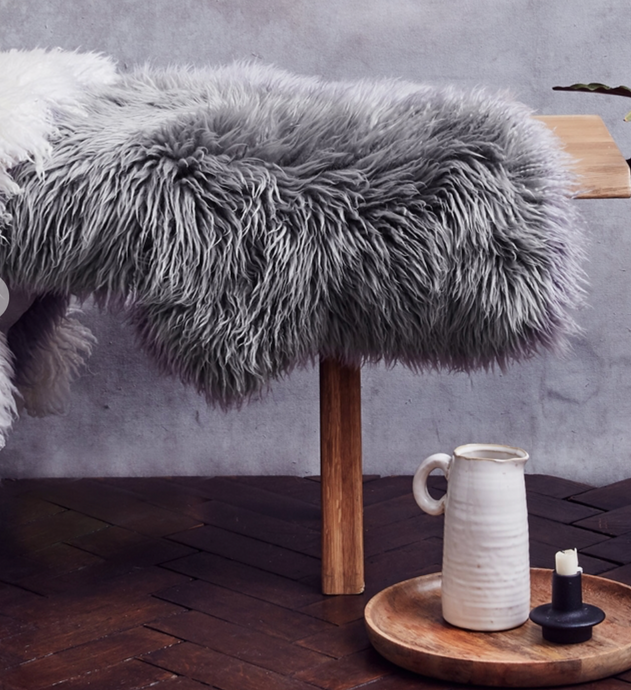 Grey Yeti Sheepskin Rug - The St. Ives Co. Cornwall Cornish Souvenir Holiday beach