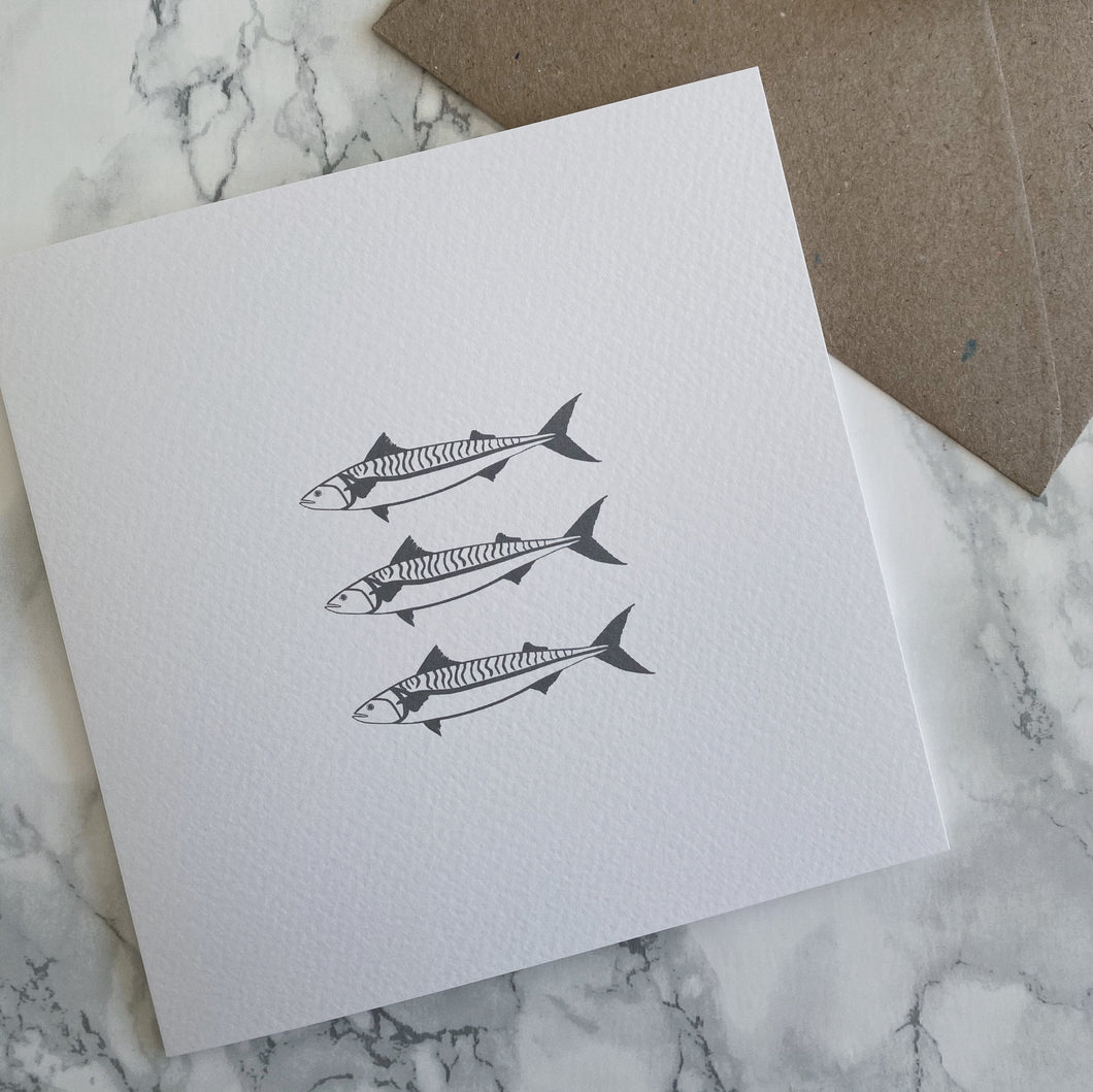 Three Mackerel Greeting Card - The St. Ives Co. Cornwall Cornish Souvenir Holiday beach