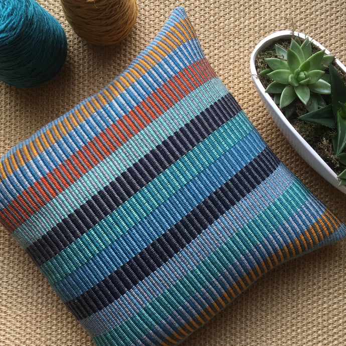 Hand Woven Foam on a Cornish Beach Cushion - The St. Ives Co. Cornwall Cornish Souvenir Holiday beach Beautiful Unique Stripe Natural Gift For Her For Him Best Local Cosy