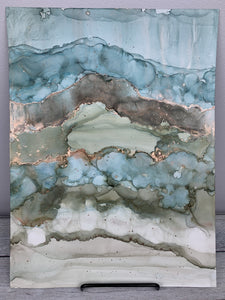 Blue, green & grey abstract landscape with copper accents