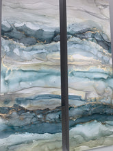 Load image into Gallery viewer, Moody blue & grey abstract landscape diptych with brass accents