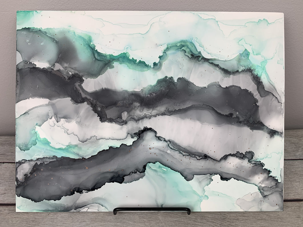 Mint green & grey abstract landscape