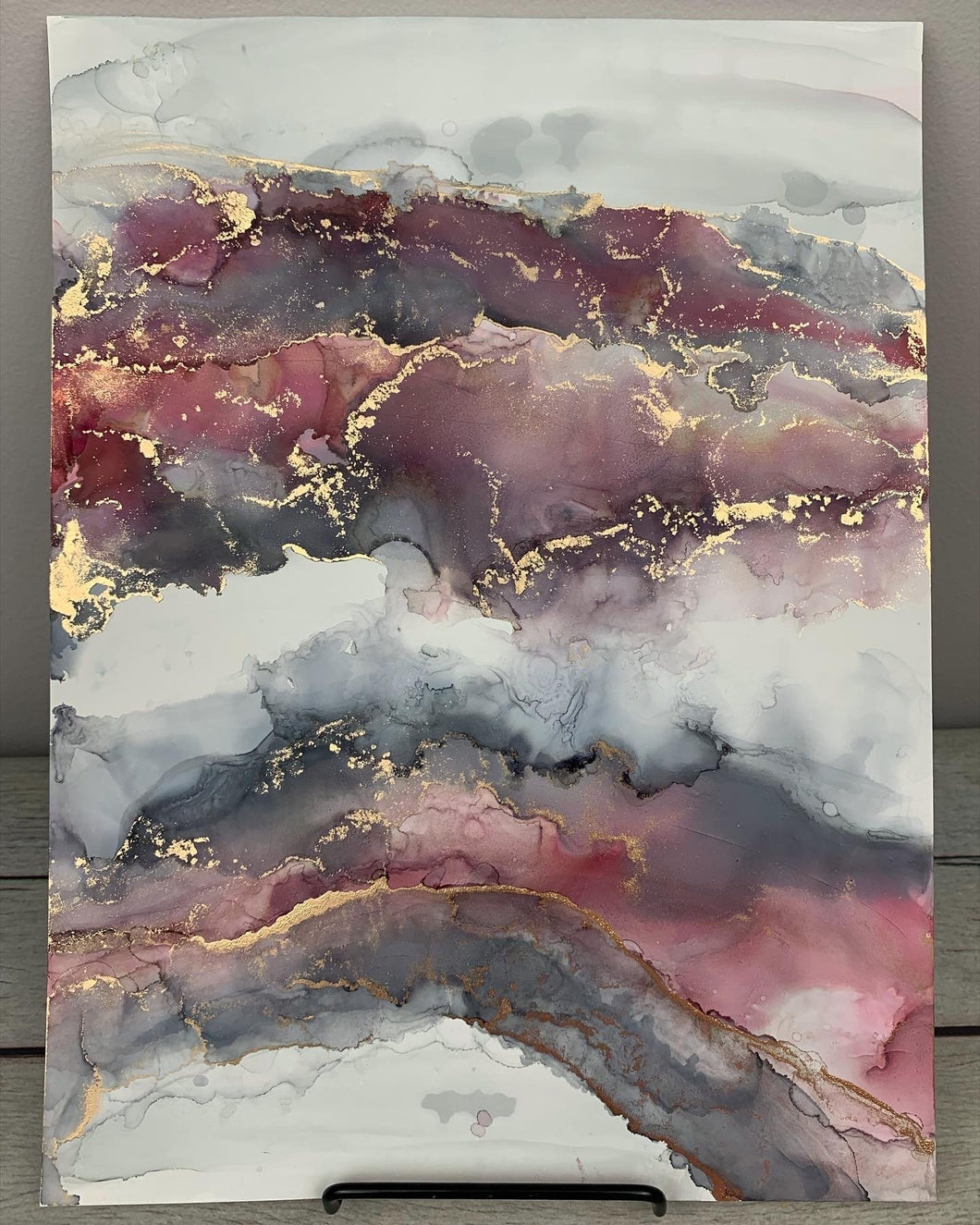 Red & grey abstract landscape with brass accents