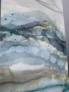 Moody blue & grey abstract landscape diptych with brass accents