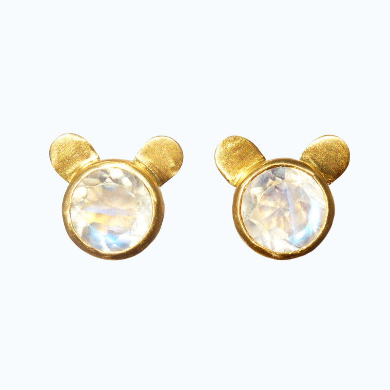 Rainbow Moonstone Bear Earrings
