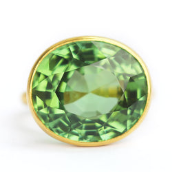 Green Tourmaline Princess Ring
