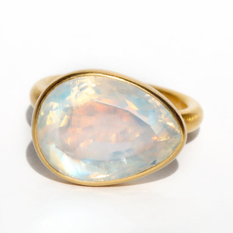 Rainbow Moonstone Princess Ring