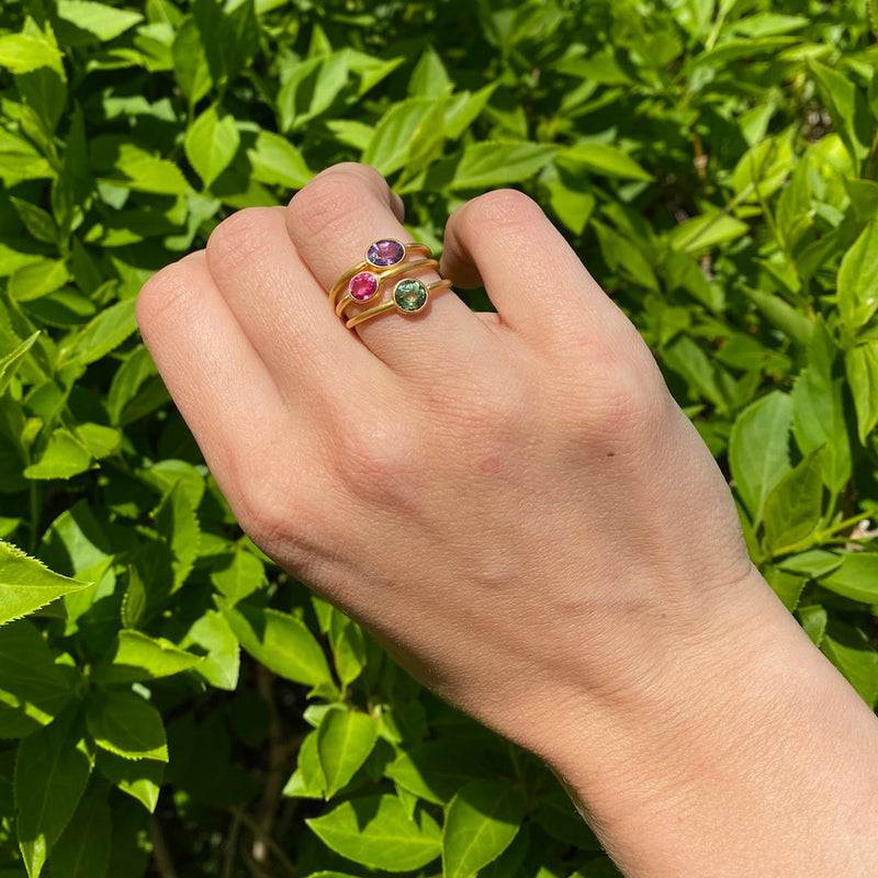 Green Tourmaline Roman Ring
