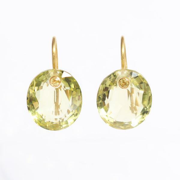 Lemon Quartz Gem Earrings