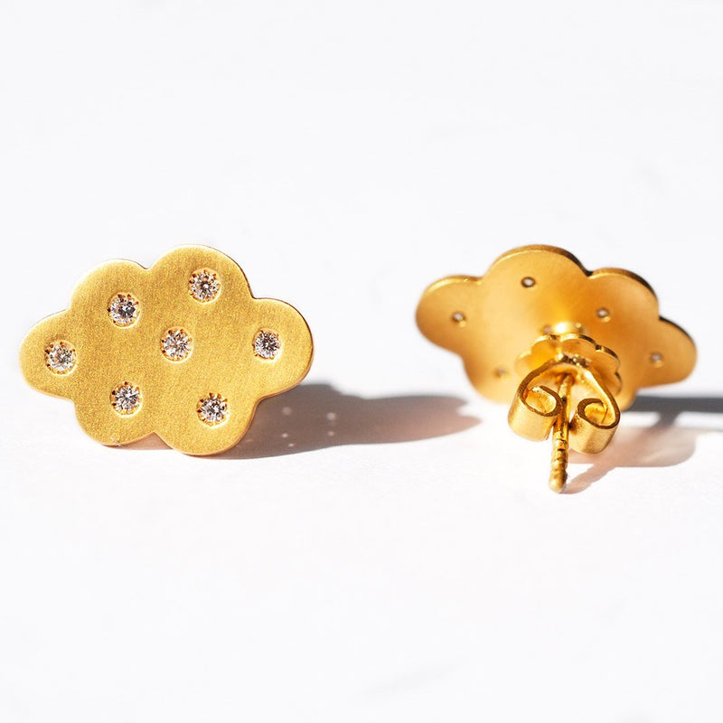 Diamond Cloud Stud Earrings