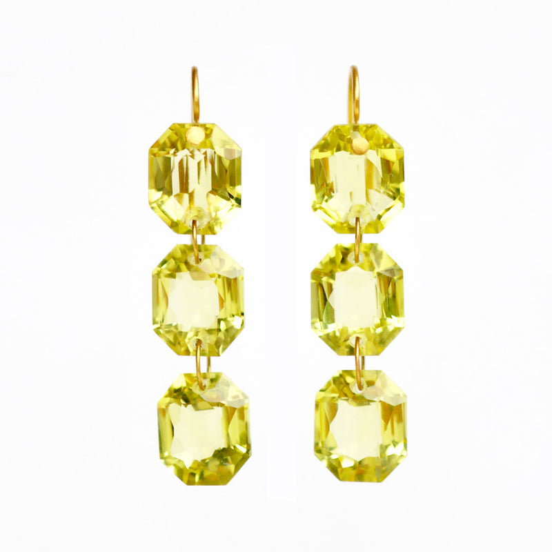 Small Lemon Quartz Spring Earrings