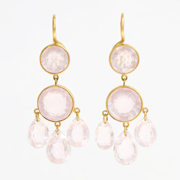 Rose Quartz Gabrielle d'Estrées Earrings