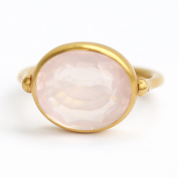 Pink Quartz Swivel Ring
