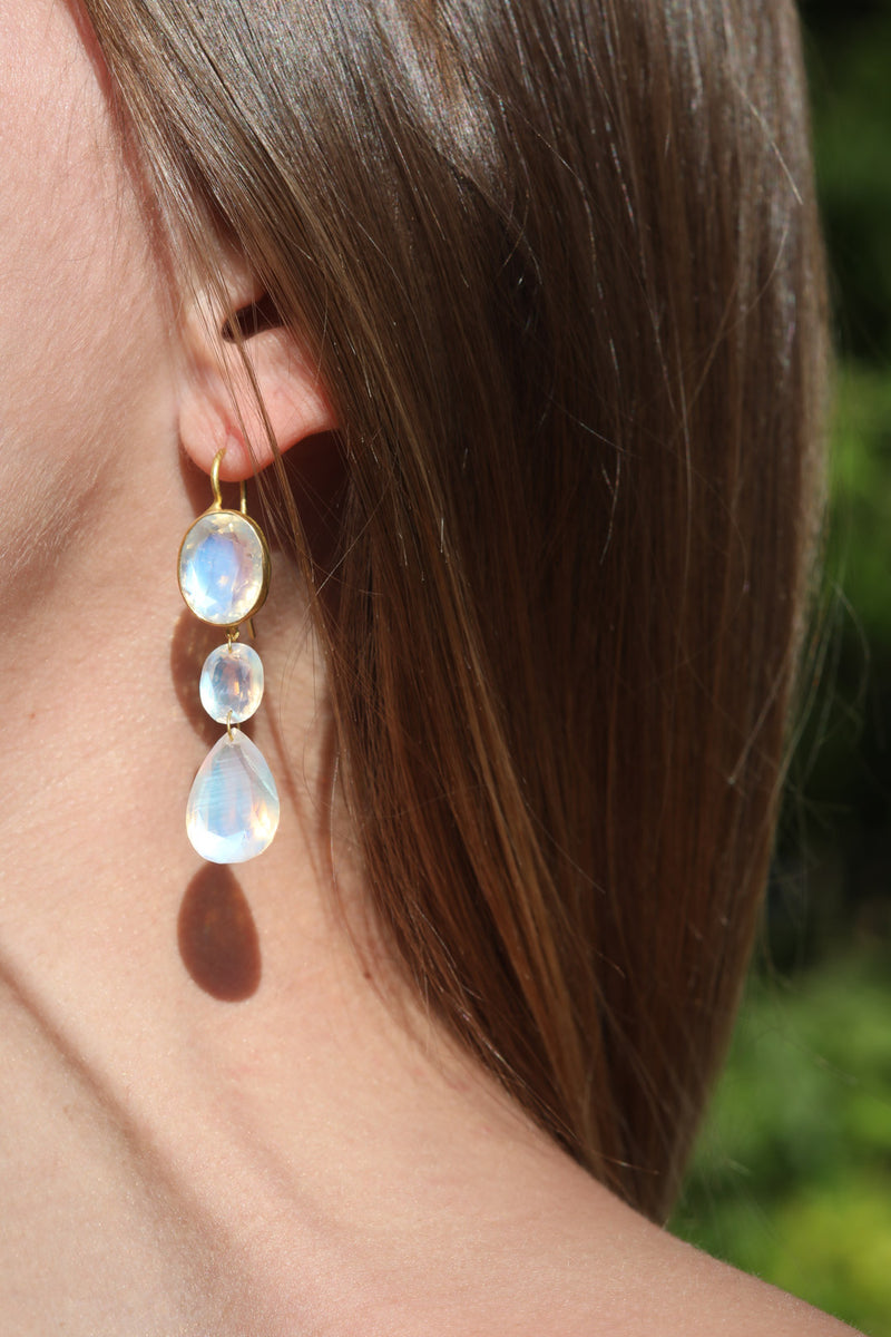 Rainbow Moonstone Elizabeth T. Earrings