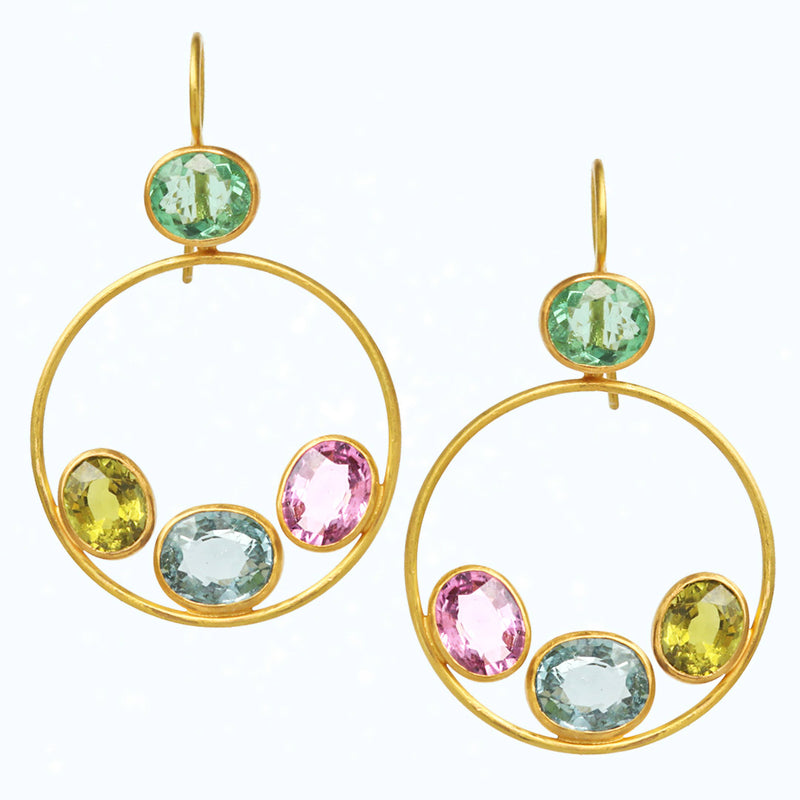 Paraiba & Colored Tourmaline Gloria Earrings