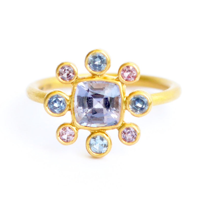 Spinel and Sapphire Byzantine Ring