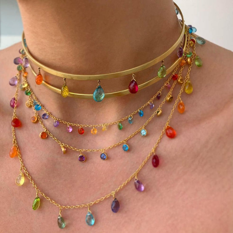 Rainbow  Briolette Necklace