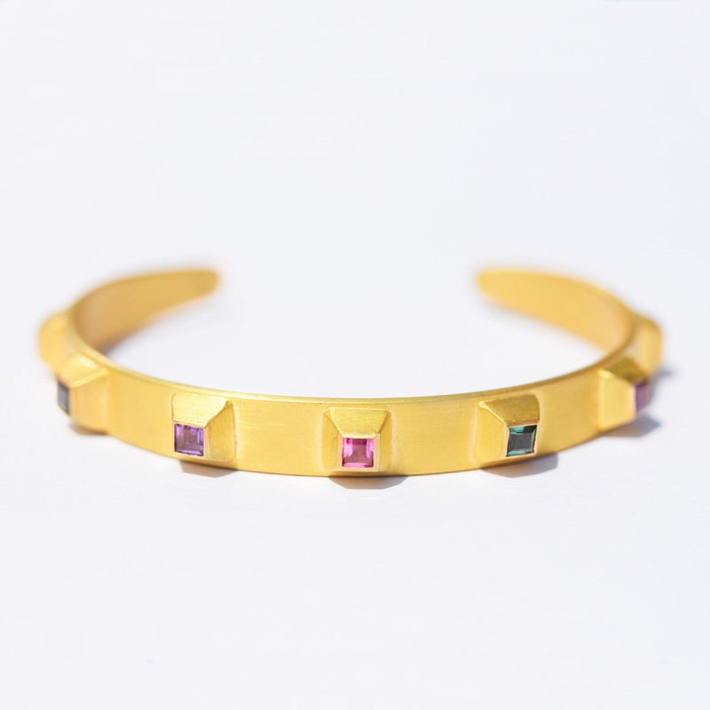 Multicolored Studded Pyramid Cuff