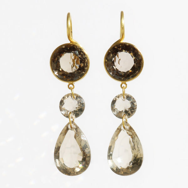Small Smokey Quartz Elizabeth T. Earrings