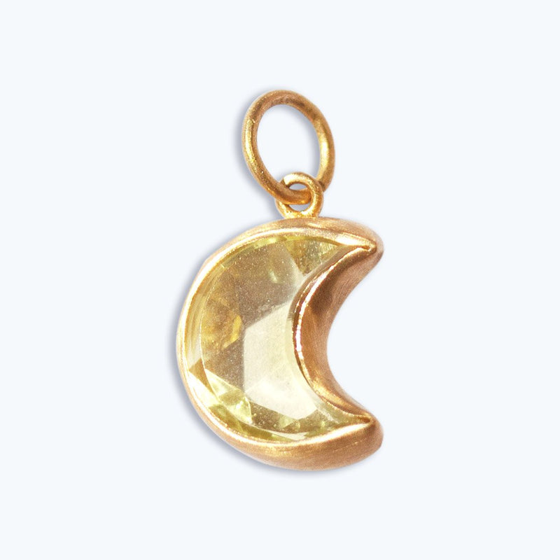 Lemon Quartz Moon Crescent Pendant