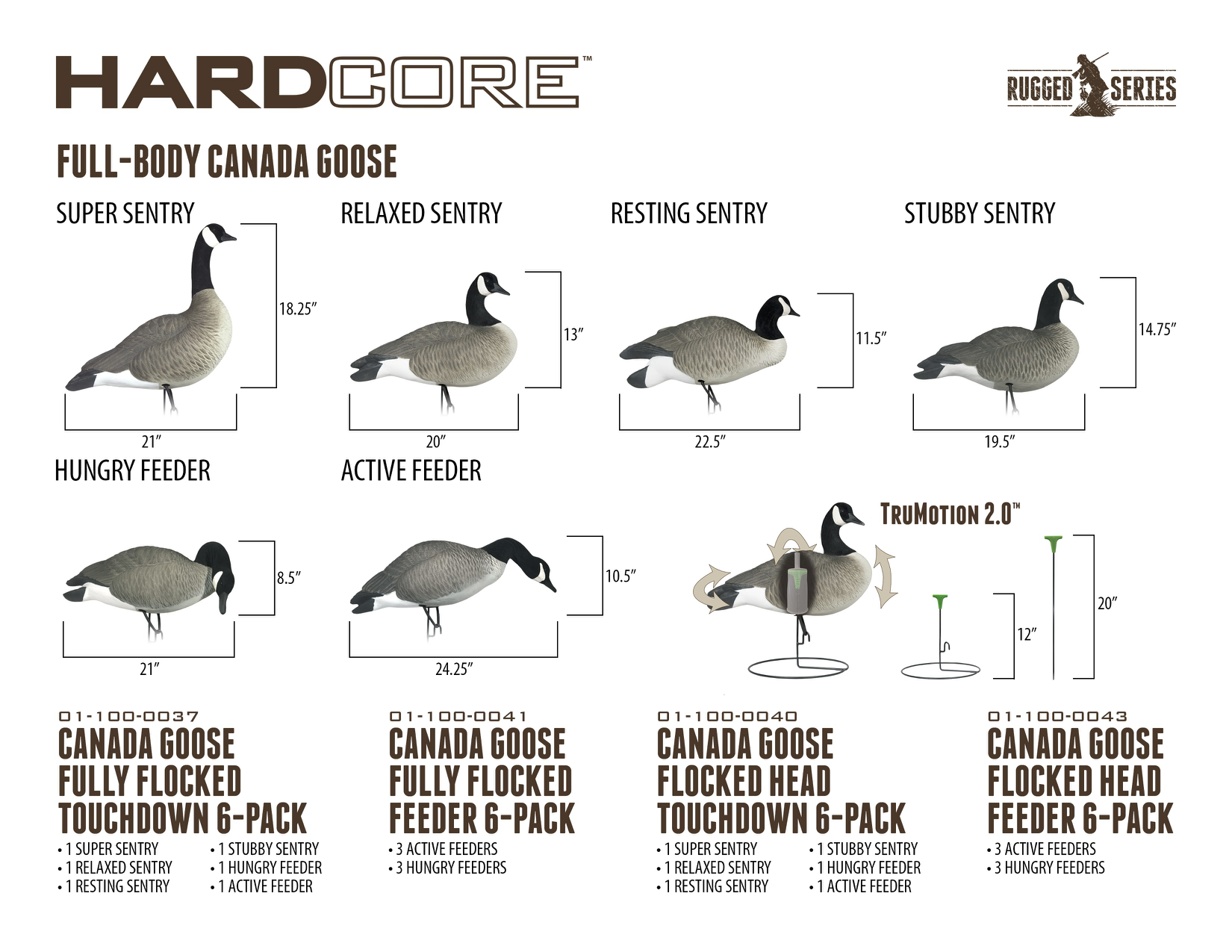 Rugged Series Full Body Canada Goose Decoys - Flocked Head Feeder & Touchdown Packs