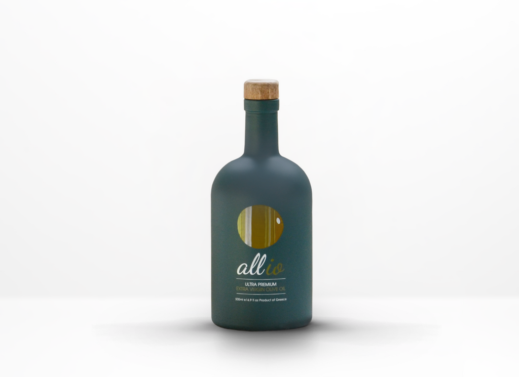 ultra premium extra virgin olive oil in a 500ml designer green glass bottle