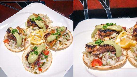 Pompano Fish Tacos with Avocado Crema | Recipe by @cheatdaycheska